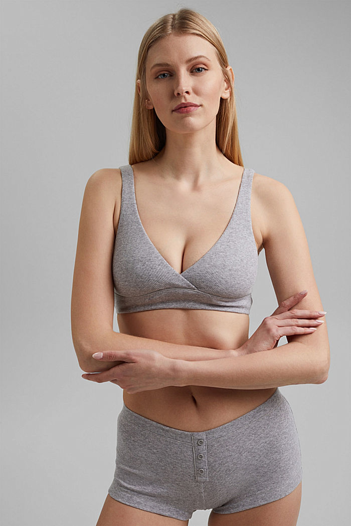 Unpadded, non-wired bra made of organic cotton, MEDIUM GREY, detail image number 0