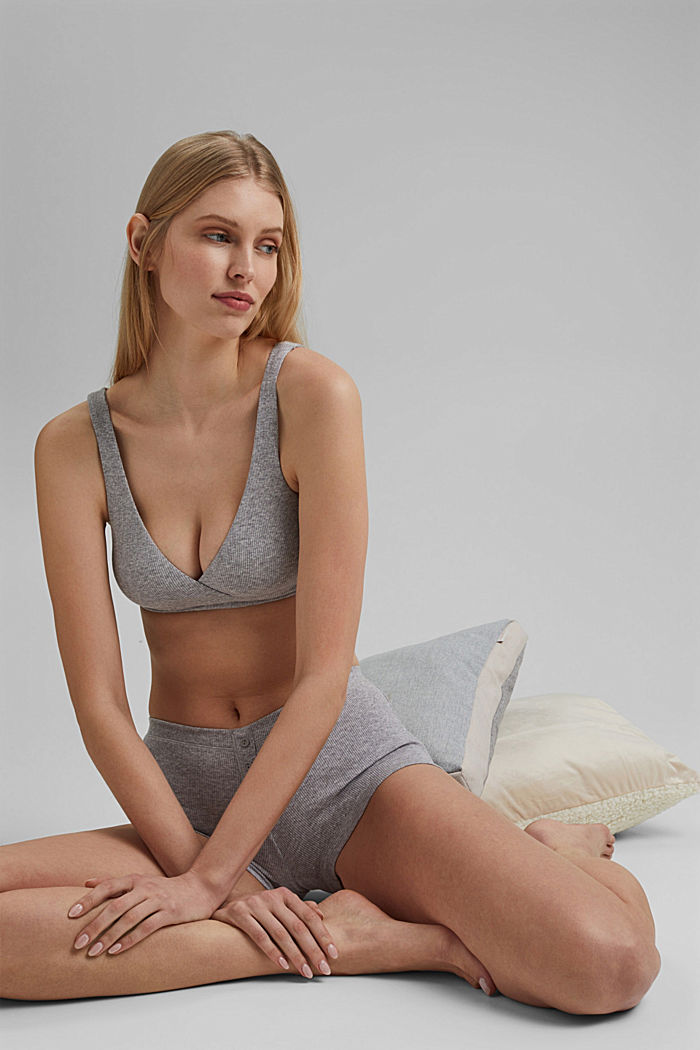 Unpadded, non-wired bra made of organic cotton, MEDIUM GREY, detail image number 2