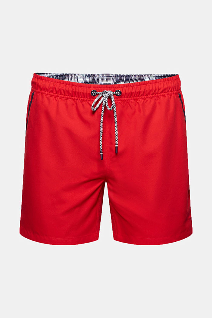 Recycled: swim shorts with neon details, RED, detail image number 1