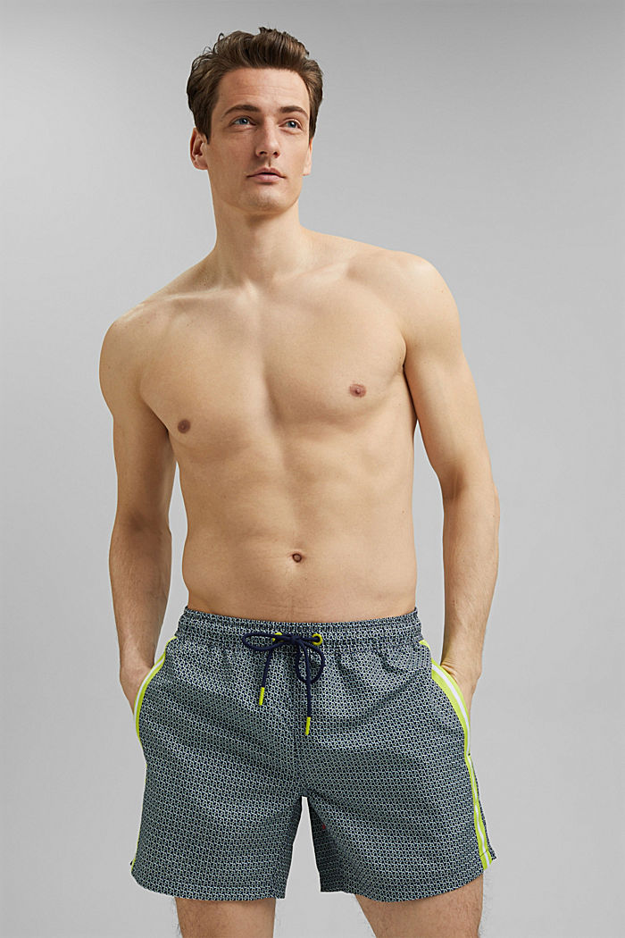 Recycled: swim shorts with tape details, LIGHT KHAKI, detail image number 0