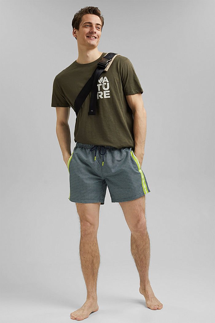Recycled: swim shorts with tape details, LIGHT KHAKI, detail image number 2