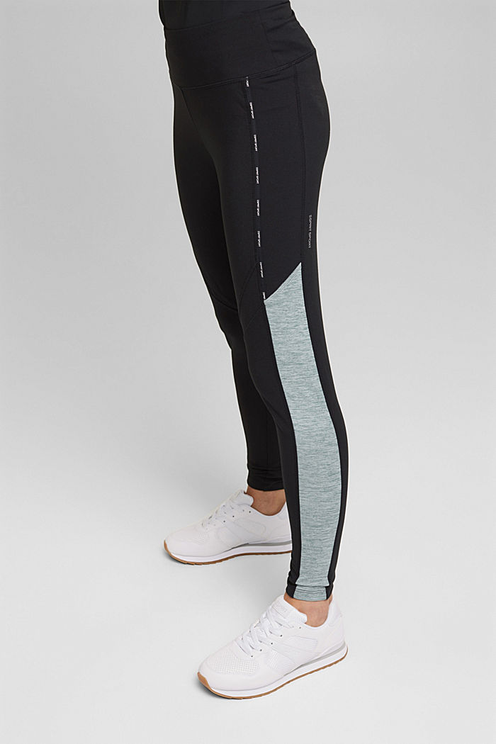Recycled: high-performance leggings with an E-DRY finish, BLACK, detail image number 0