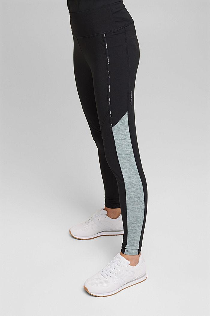 Recycelt: Active-Leggings mit E-Dry, BLACK, detail image number 0