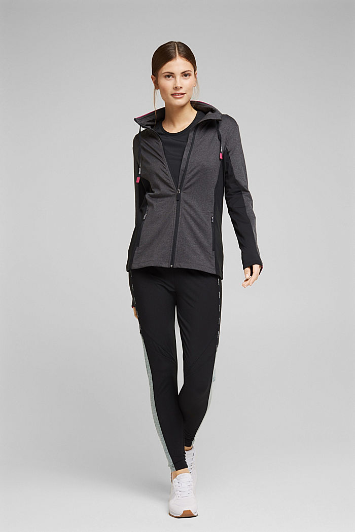 Recycled: high-performance leggings with an E-DRY finish, BLACK, detail image number 1