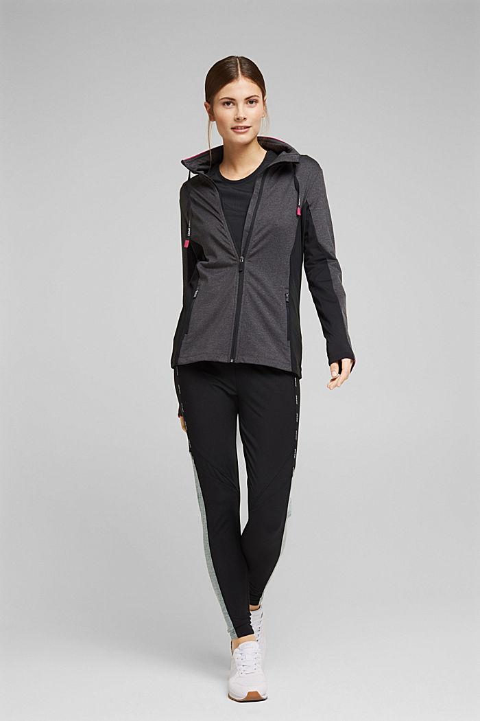 Recycelt: Active-Leggings mit E-Dry, BLACK, detail image number 1