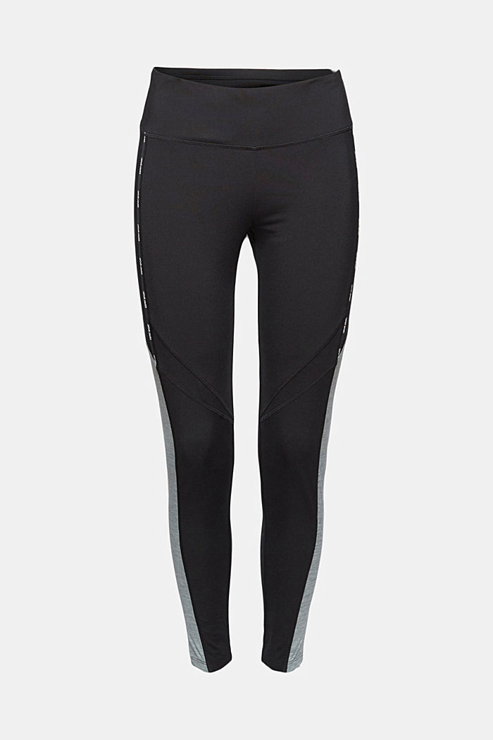 Recycled: high-performance leggings with an E-DRY finish, BLACK, overview