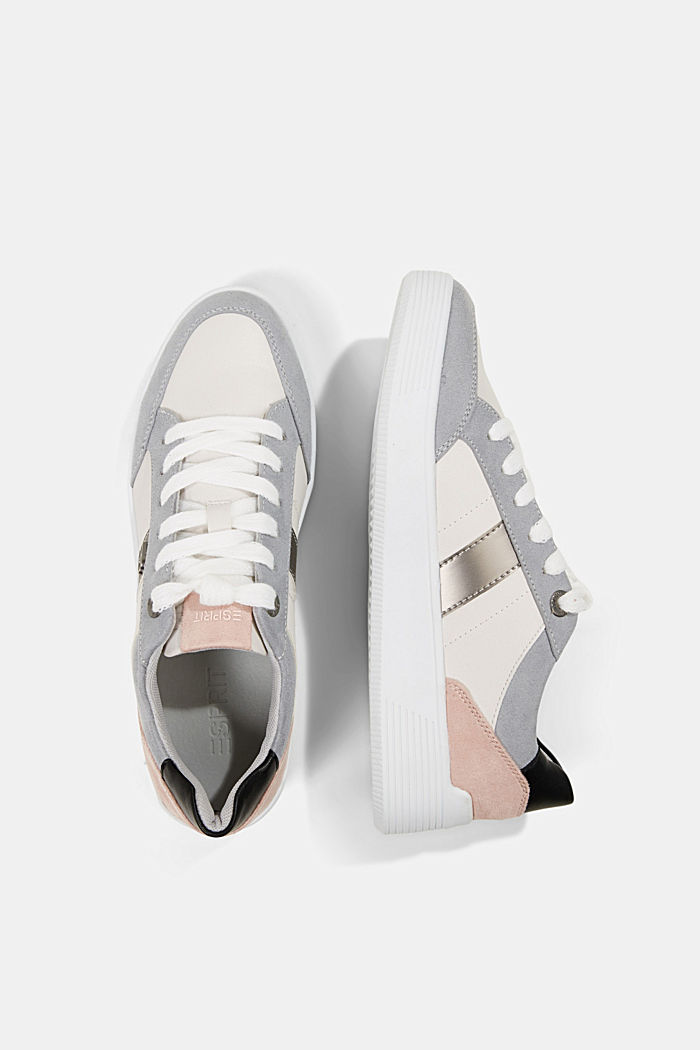 Trainers in a mix of materials, LIGHT GREY, detail image number 1