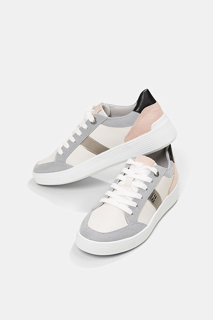 Trainers in a mix of materials, LIGHT GREY, detail image number 6