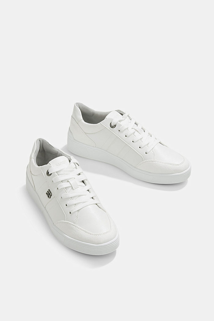 Trainers in a mix of materials, WHITE, detail image number 6