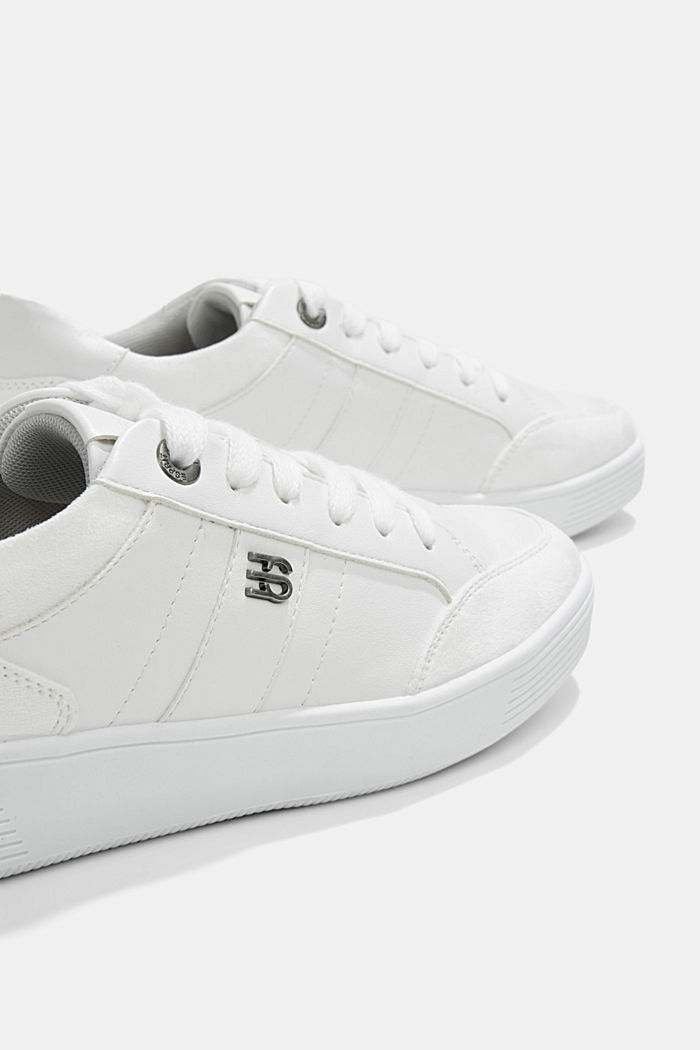 Trainers in a mix of materials, WHITE, detail image number 4