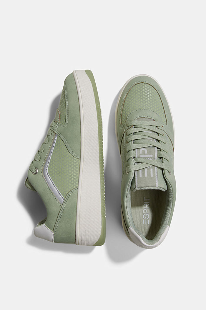 Trainers with a platform sole, DUSTY GREEN, detail image number 1