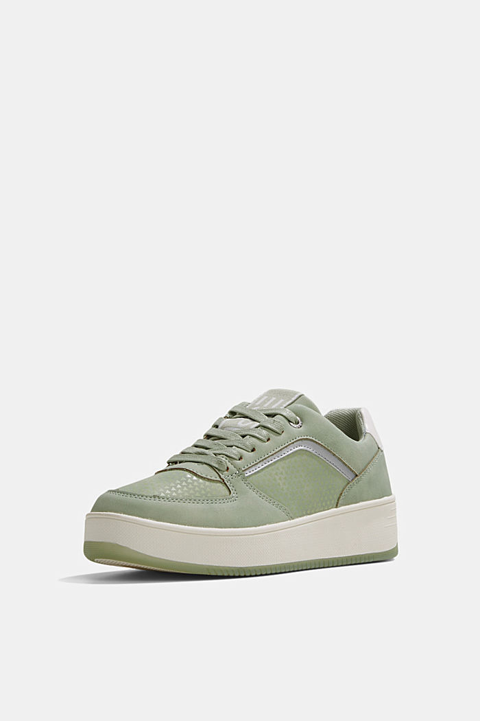 Trainers with a platform sole, DUSTY GREEN, detail image number 2