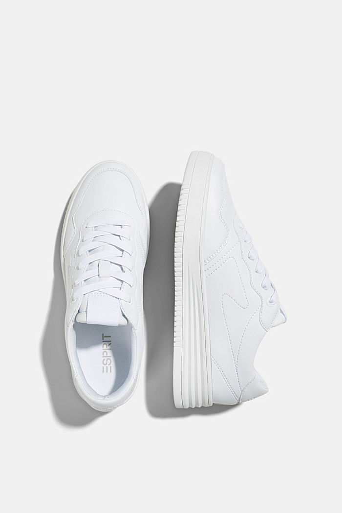 Faux leather trainers with a platform sole, WHITE, detail image number 1