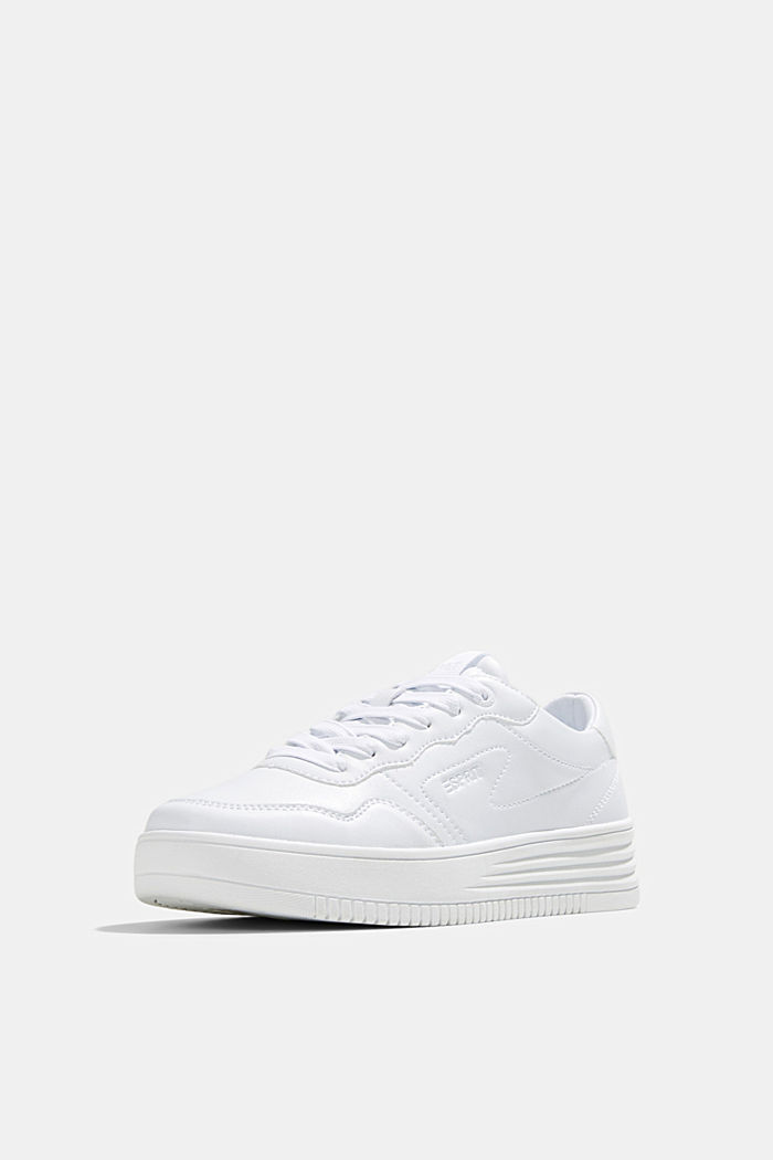 Faux leather trainers with a platform sole, WHITE, detail image number 2