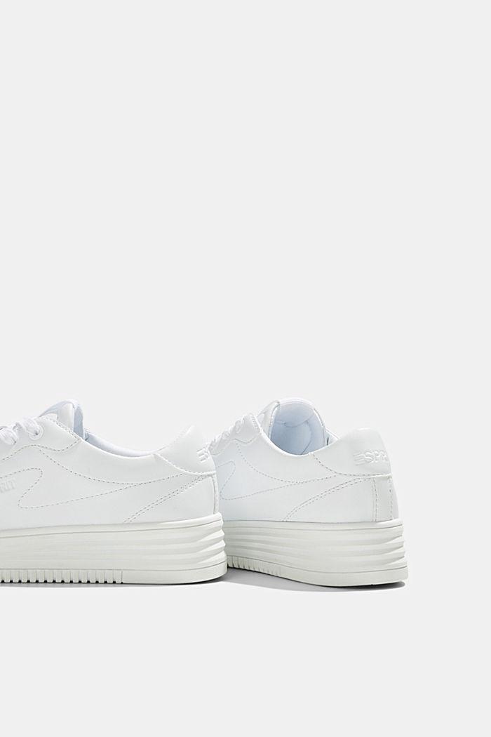Sneaker in Leder-Optik mit Plateau Sohle, WHITE, detail image number 5