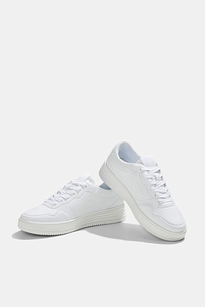 Faux leather trainers with a platform sole, WHITE, detail image number 6