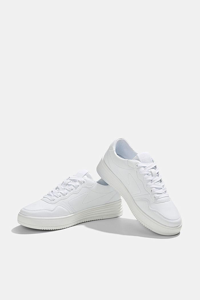 Sneaker in Leder-Optik mit Plateau Sohle, WHITE, detail image number 6