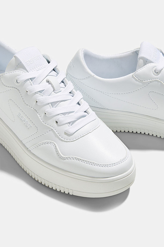 Faux leather trainers with a platform sole, WHITE, detail image number 4