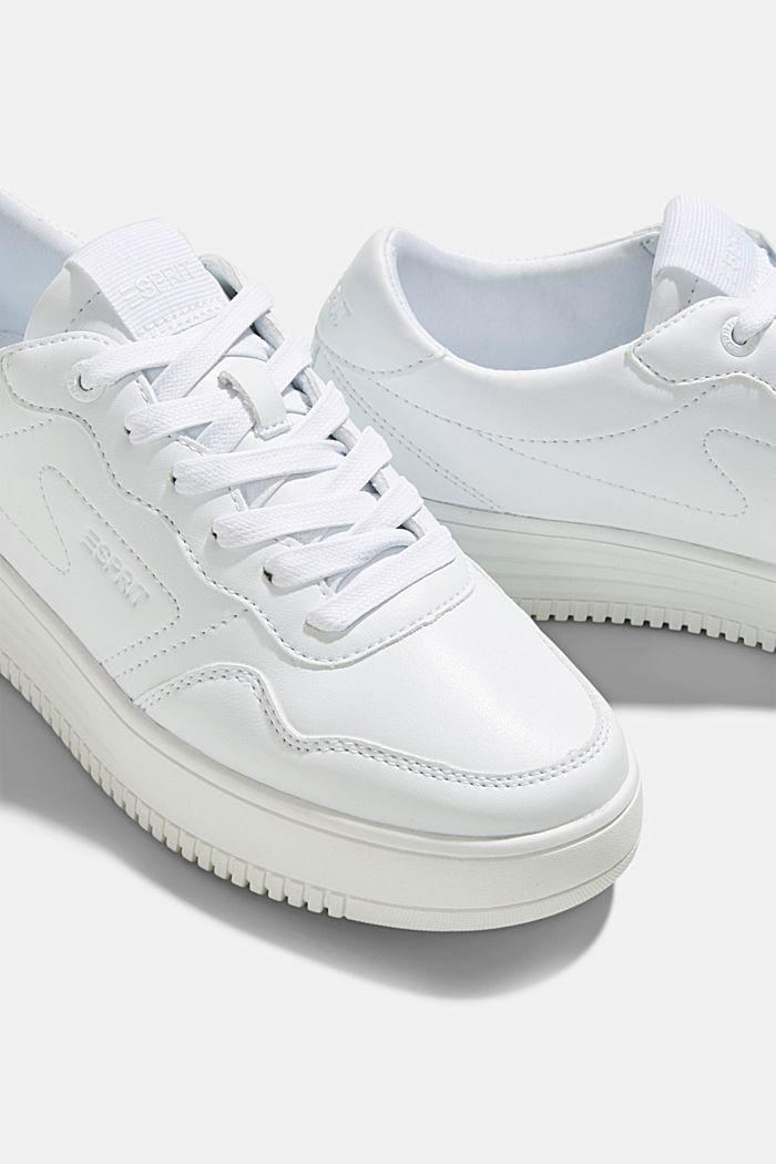 Sneaker in Leder-Optik mit Plateau Sohle, WHITE, detail image number 4