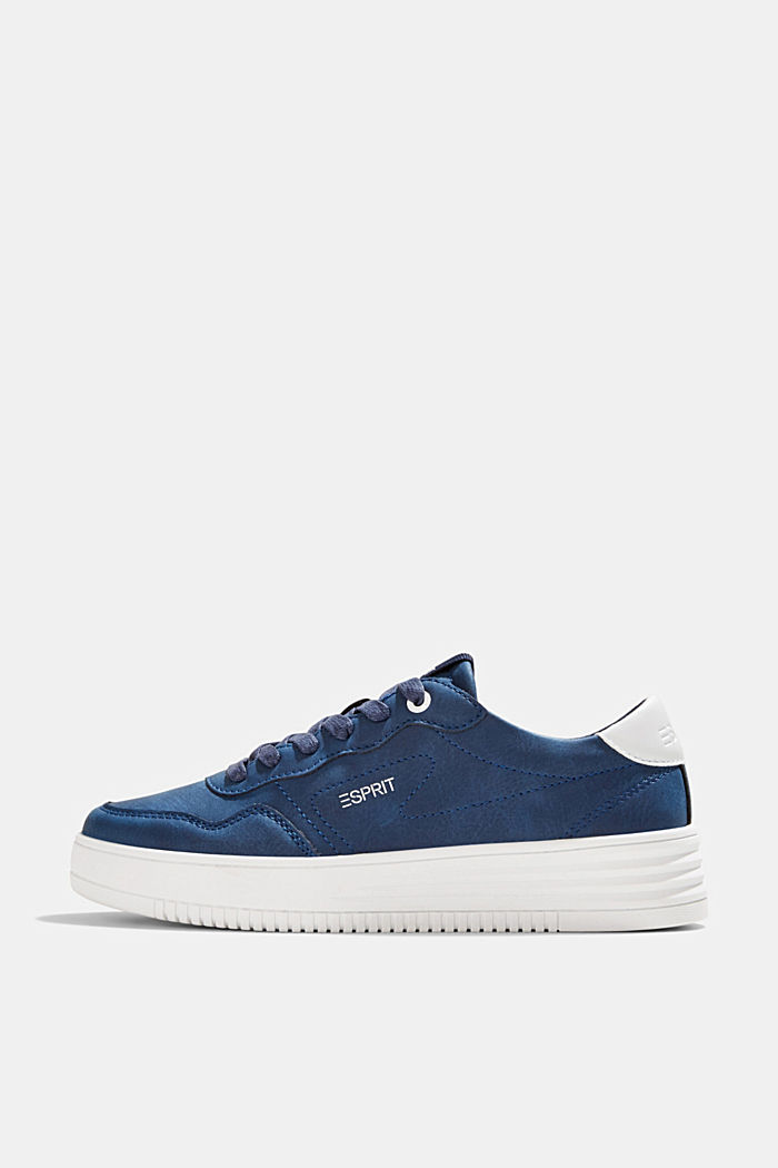Faux leather trainers with a platform sole, DARK BLUE, detail image number 0