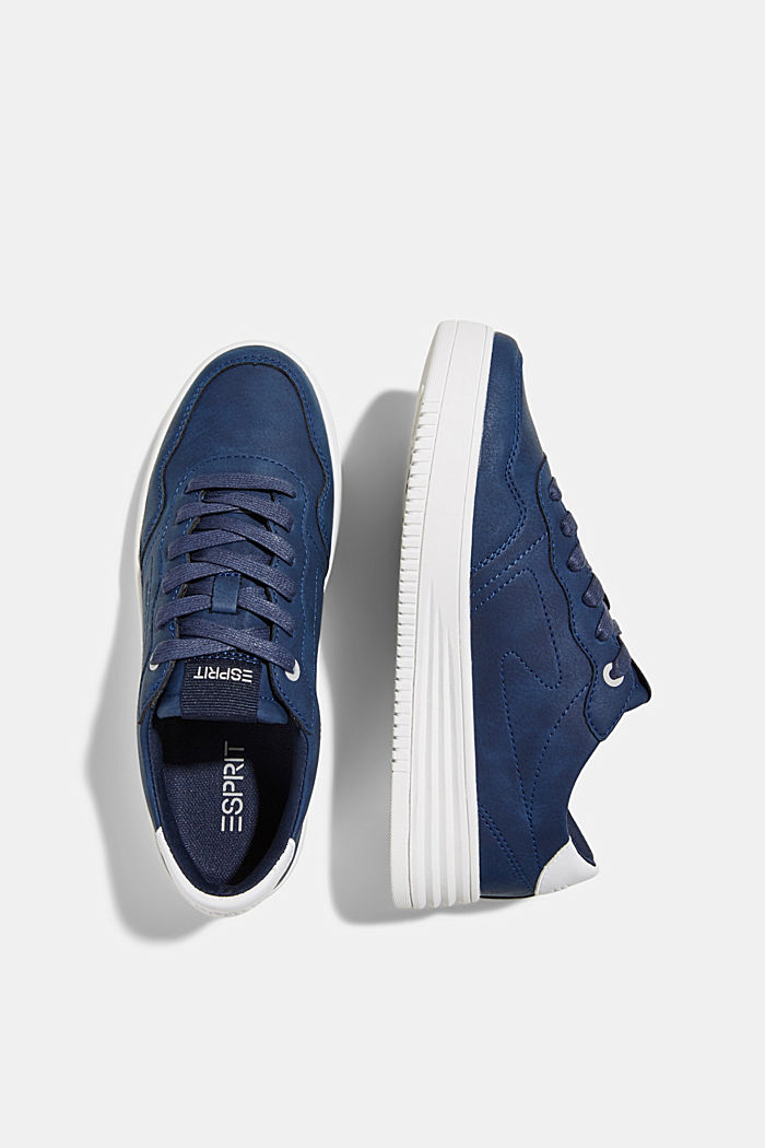 Faux leather trainers with a platform sole, DARK BLUE, detail image number 1