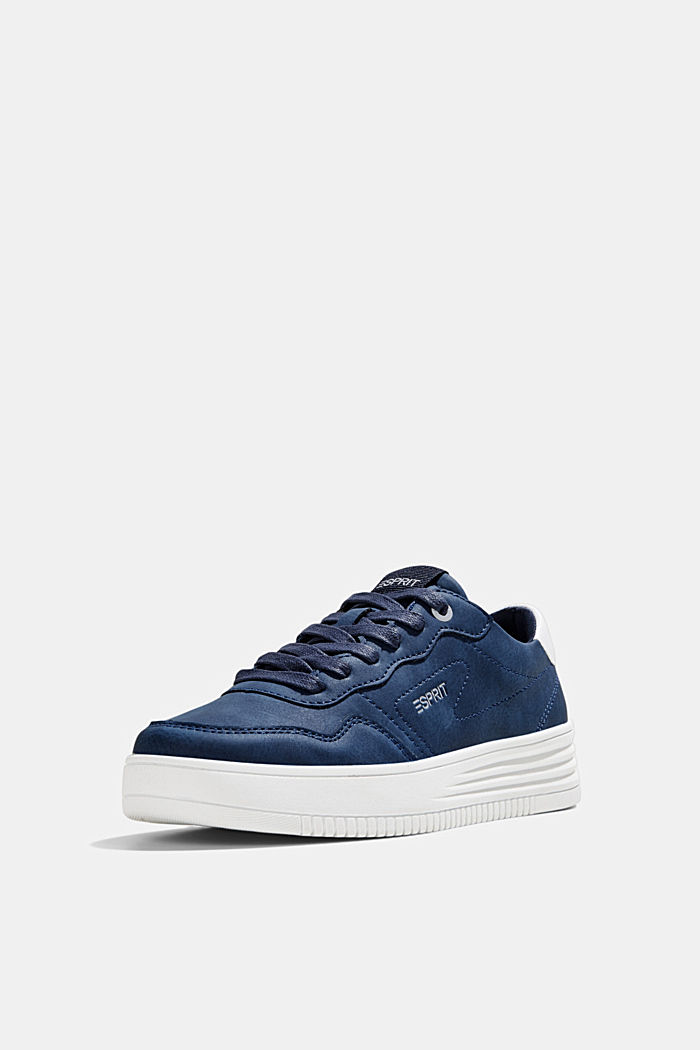 Faux leather trainers with a platform sole, DARK BLUE, detail image number 2