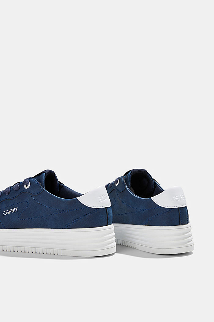Faux leather trainers with a platform sole, DARK BLUE, detail image number 5