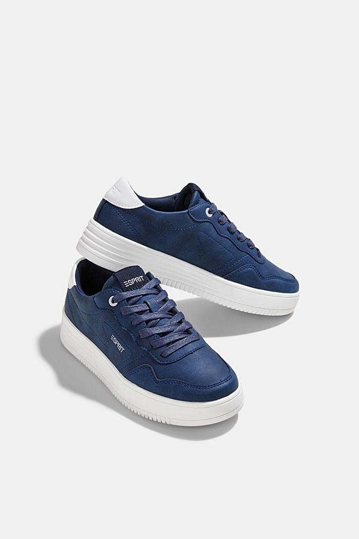 Faux leather trainers with a platform sole, DARK BLUE, detail image number 6