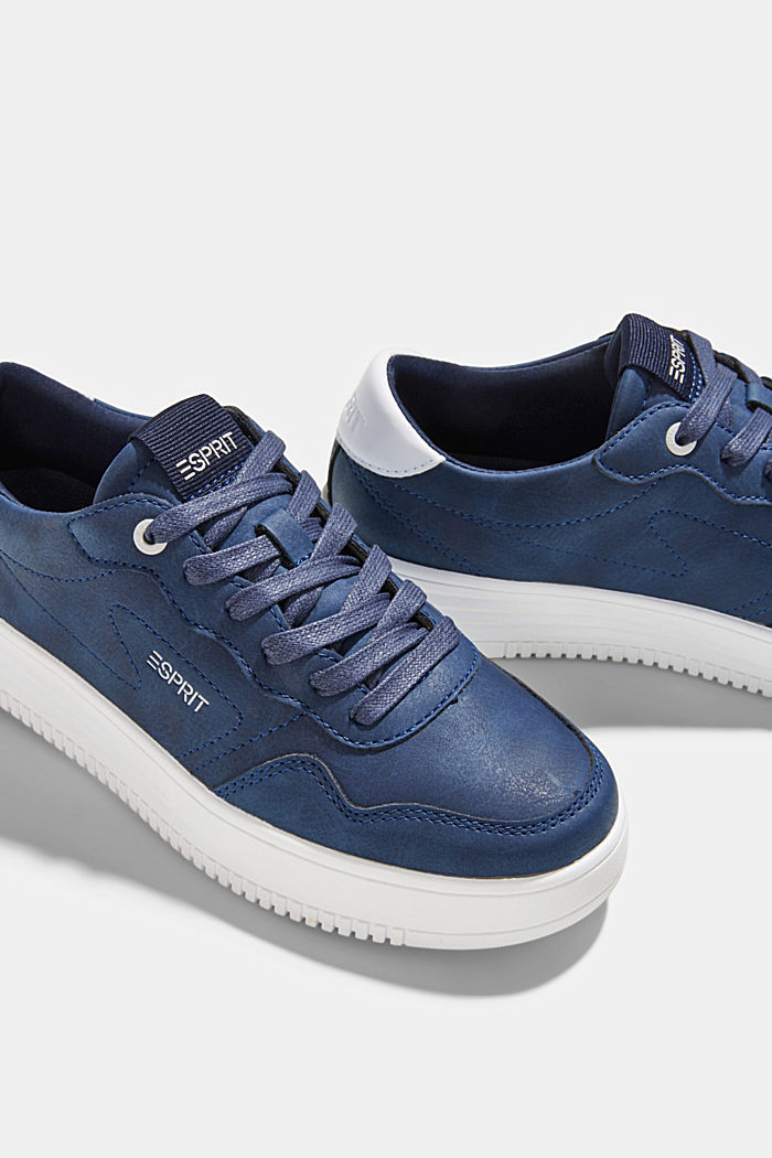 Faux leather trainers with a platform sole, DARK BLUE, detail image number 4