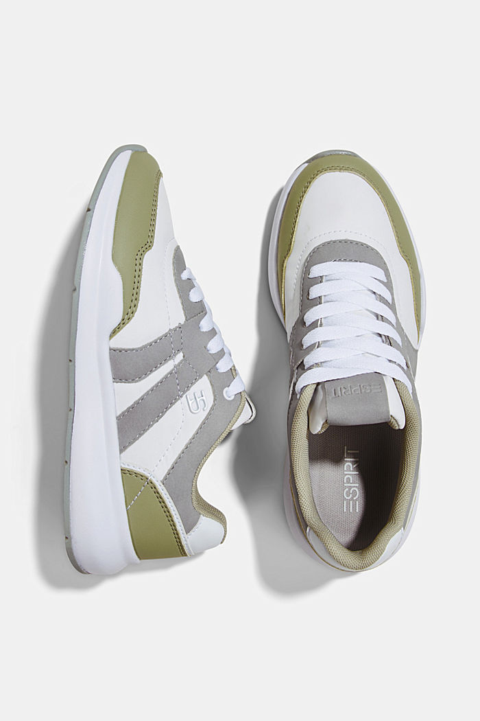 Trainers in a mixed material look, DUSTY GREEN, detail image number 1