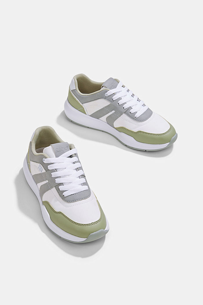 Trainers in a mixed material look, DUSTY GREEN, detail image number 6