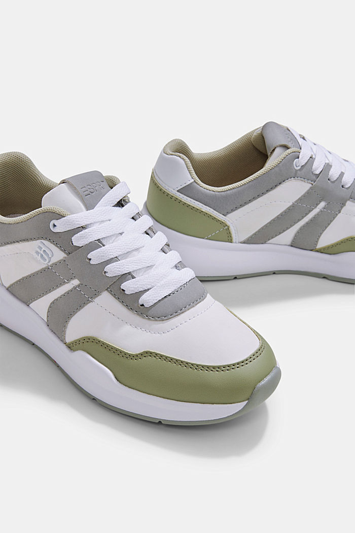 Trainers in a mixed material look, DUSTY GREEN, detail image number 4