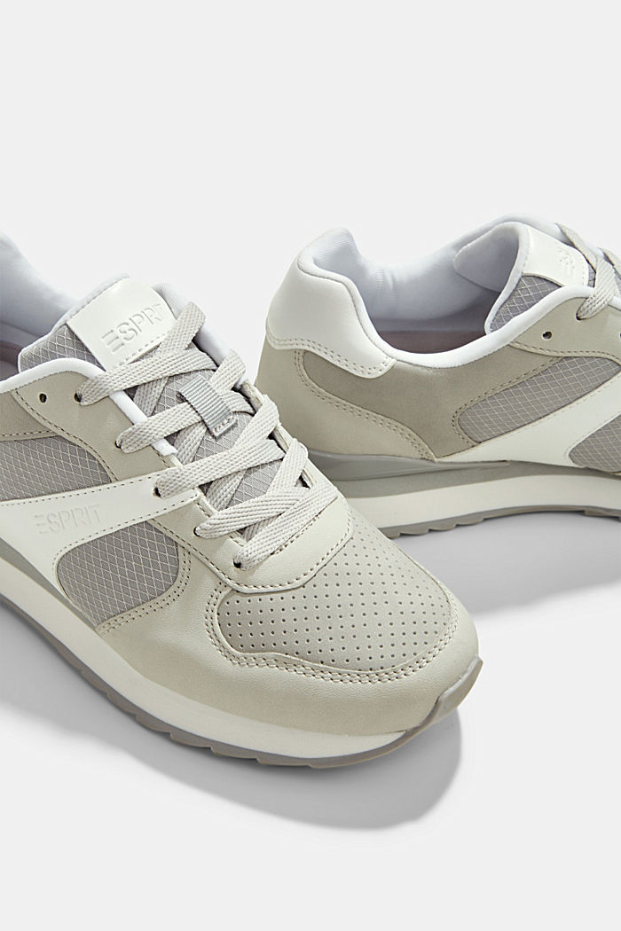 Faux leather trainers, LIGHT GREY, detail image number 4