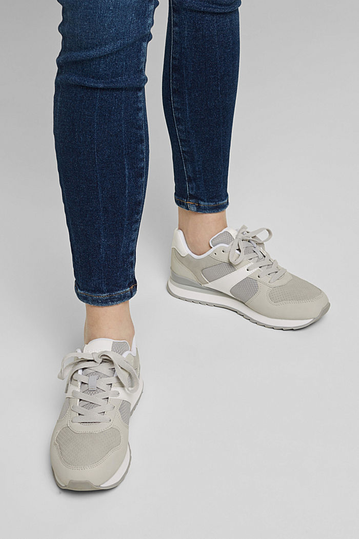 Faux leather trainers, LIGHT GREY, detail image number 3