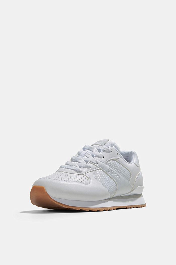 Sneakers en similicuir, WHITE, detail image number 2