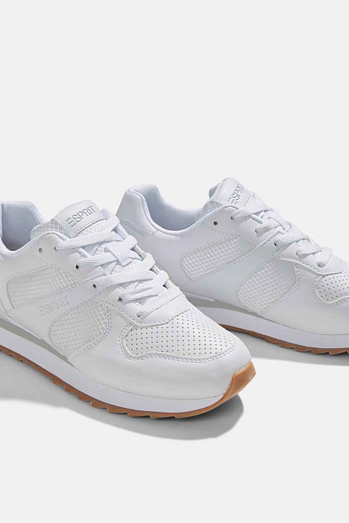 Sneakers en similicuir, WHITE, detail image number 4
