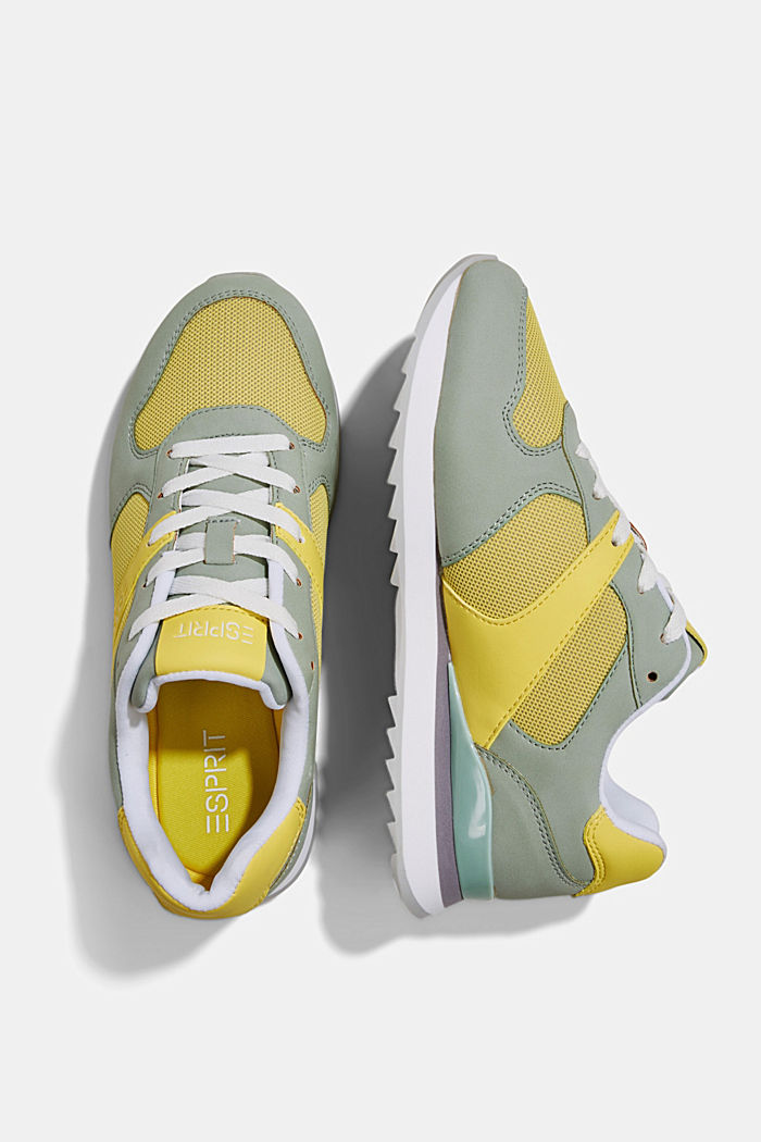 Faux leather trainers, LIME YELLOW, detail image number 1