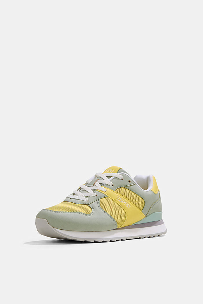 Faux leather trainers, LIME YELLOW, detail image number 2