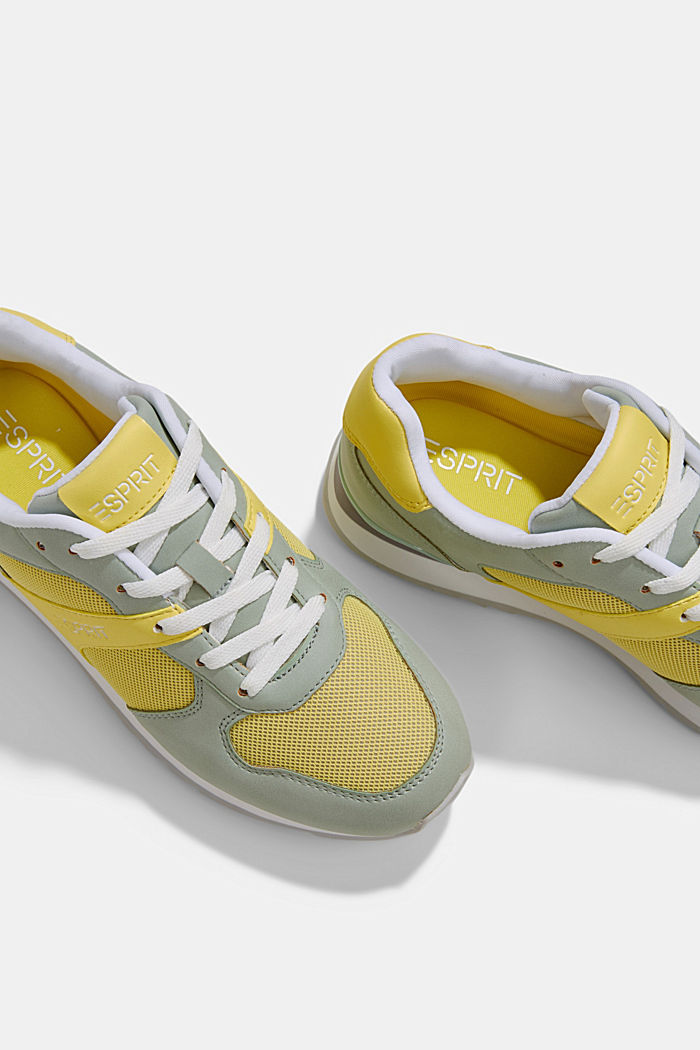 Faux leather trainers, LIME YELLOW, detail image number 4