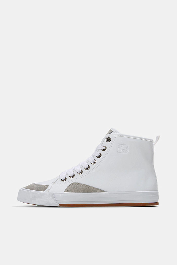 Including leather: High-top trainers in a mix of materials, WHITE, detail image number 0