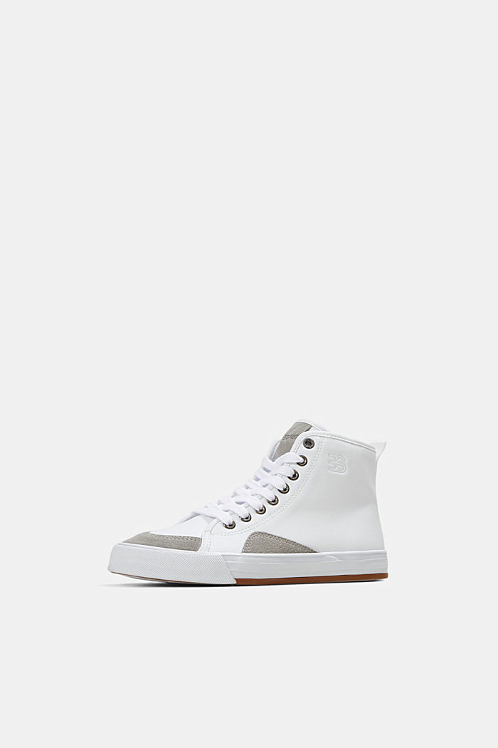 Including leather: High-top trainers in a mix of materials, WHITE, detail image number 2