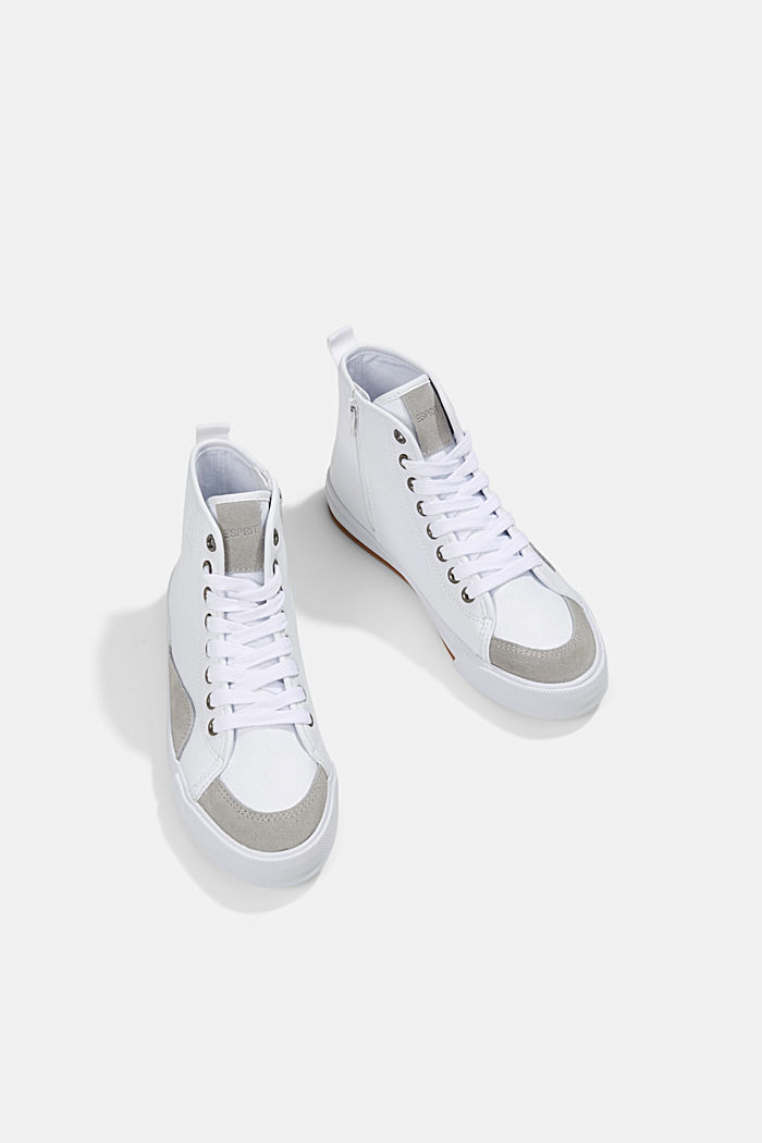 Including leather: High-top trainers in a mix of materials, WHITE, detail image number 5