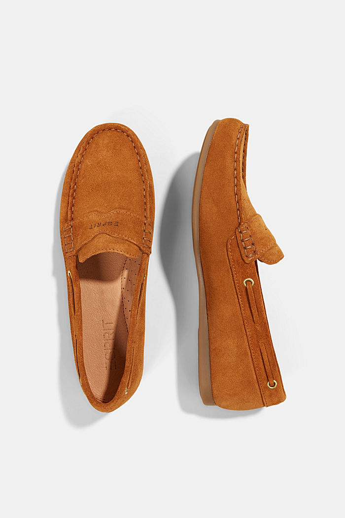 Made of suede: Moccasin loafers, CAMEL, detail image number 1
