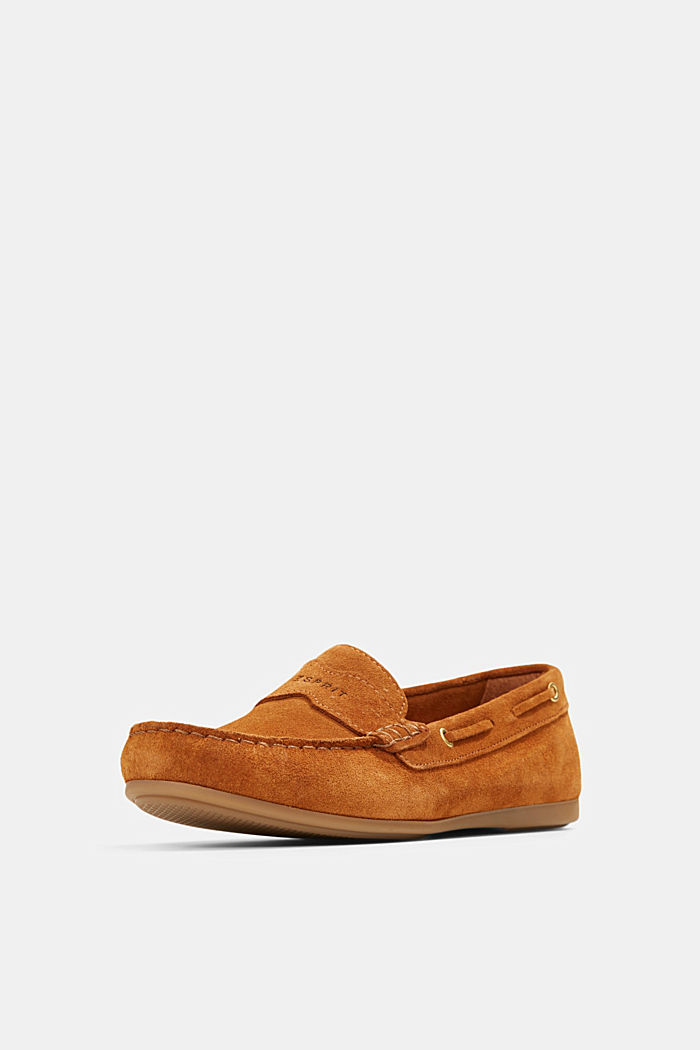 Made of suede: Moccasin loafers, CAMEL, detail image number 2