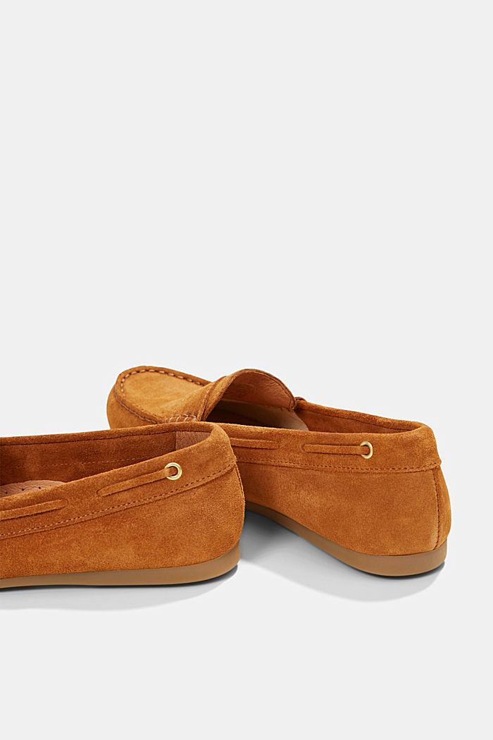 Made of suede: Moccasin loafers, CAMEL, detail image number 5