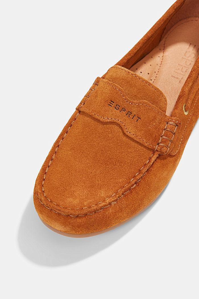 Made of suede: Moccasin loafers, CAMEL, detail image number 4