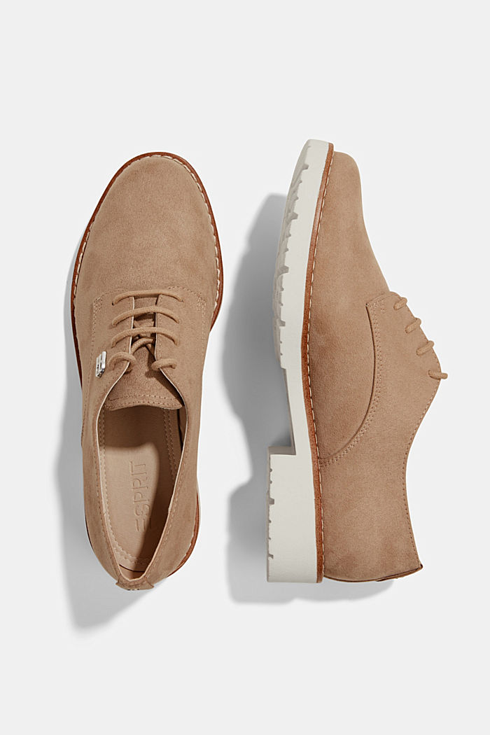 Faux leather lace-up shoes, BEIGE, detail image number 1