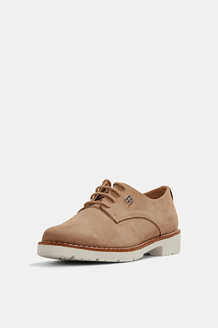 Faux leather lace-up shoes, BEIGE, detail image number 2