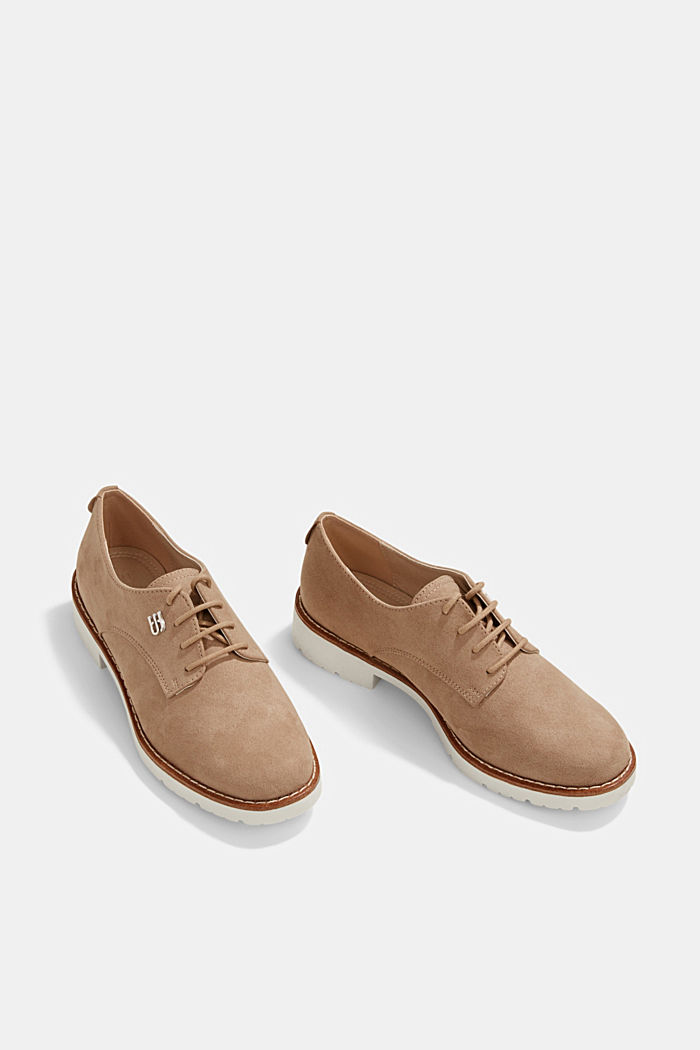 Faux leather lace-up shoes, BEIGE, detail image number 6