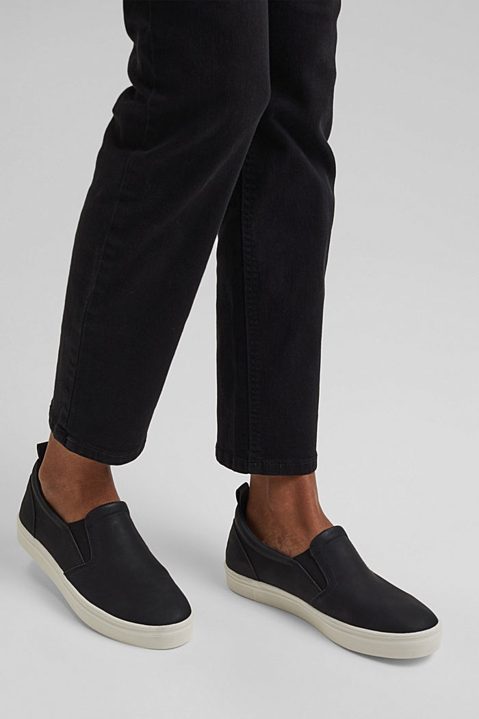 Faux leather slip-on trainers
